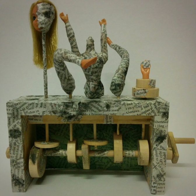 'The Message' Mixed media automaton approx 20cm x 8cm x 20cm